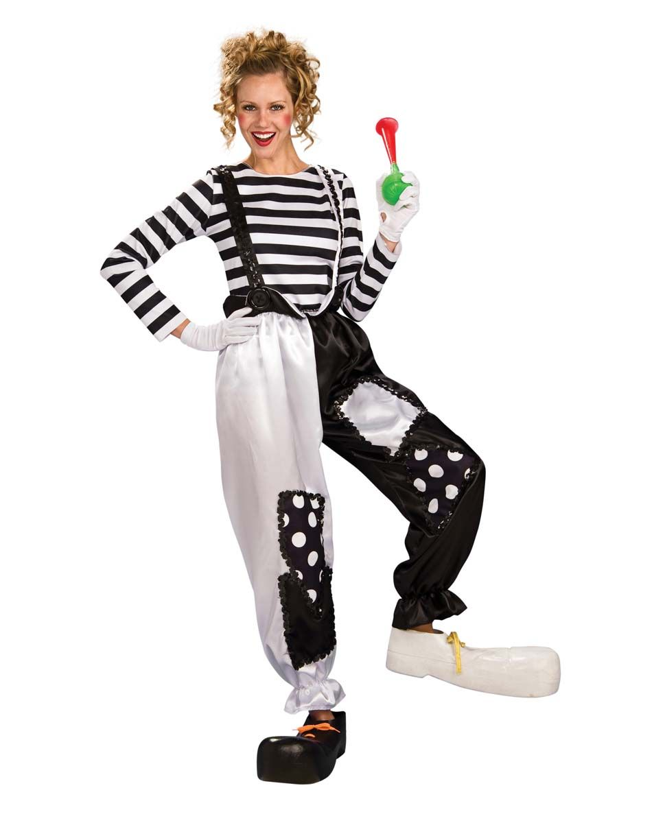 Black and White Clown Adult Womens Costume