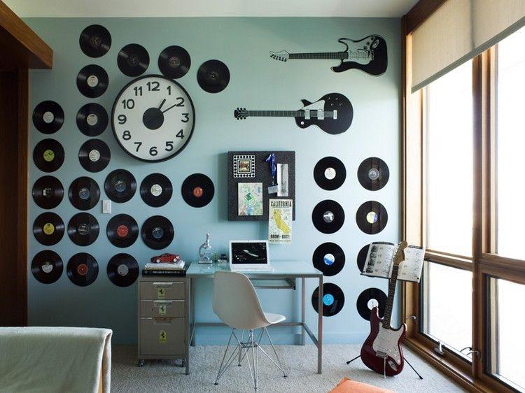 rangement vinyle : décoration murale en disques vinyles dans ...