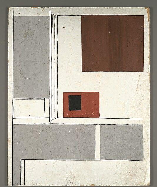 [Architectural Interior] 1950's-60's  Walker Evans / Tempera on panel