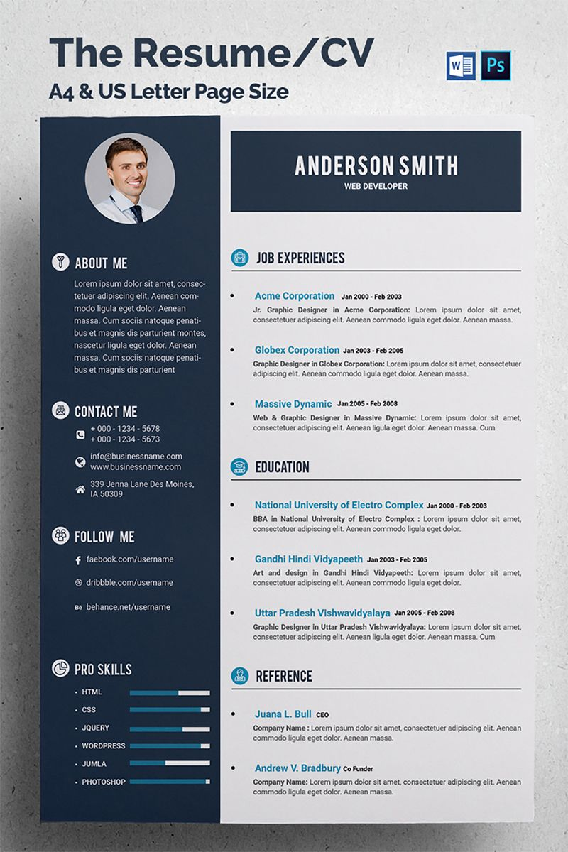 Resume Format For Experienced Web Developer Anderson Smith Web Developer Resume Template Resume Templates