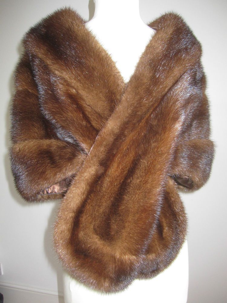 Vtg rich mahogany brown real fur mink stole cape wrap ...