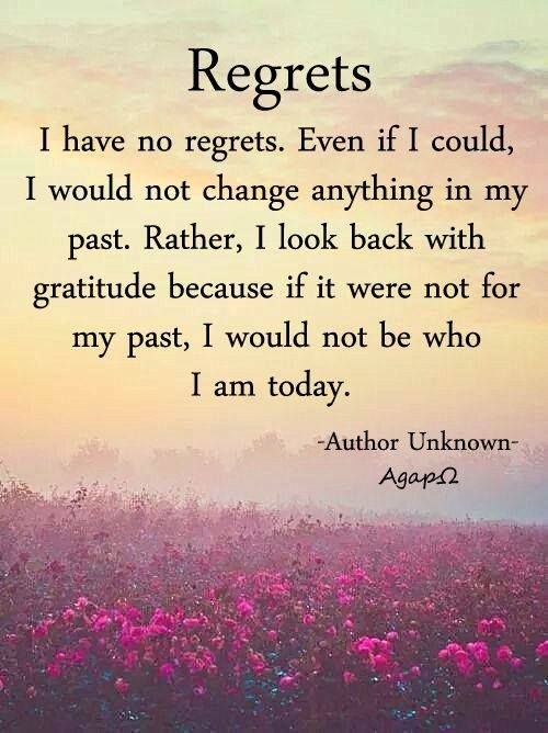 Regrets I Have No Regrets Even If I Could I Would Not Change Anything In My Past Rather I Look Back With Gratitu My Past Quotes Past Quotes My Life Quotes