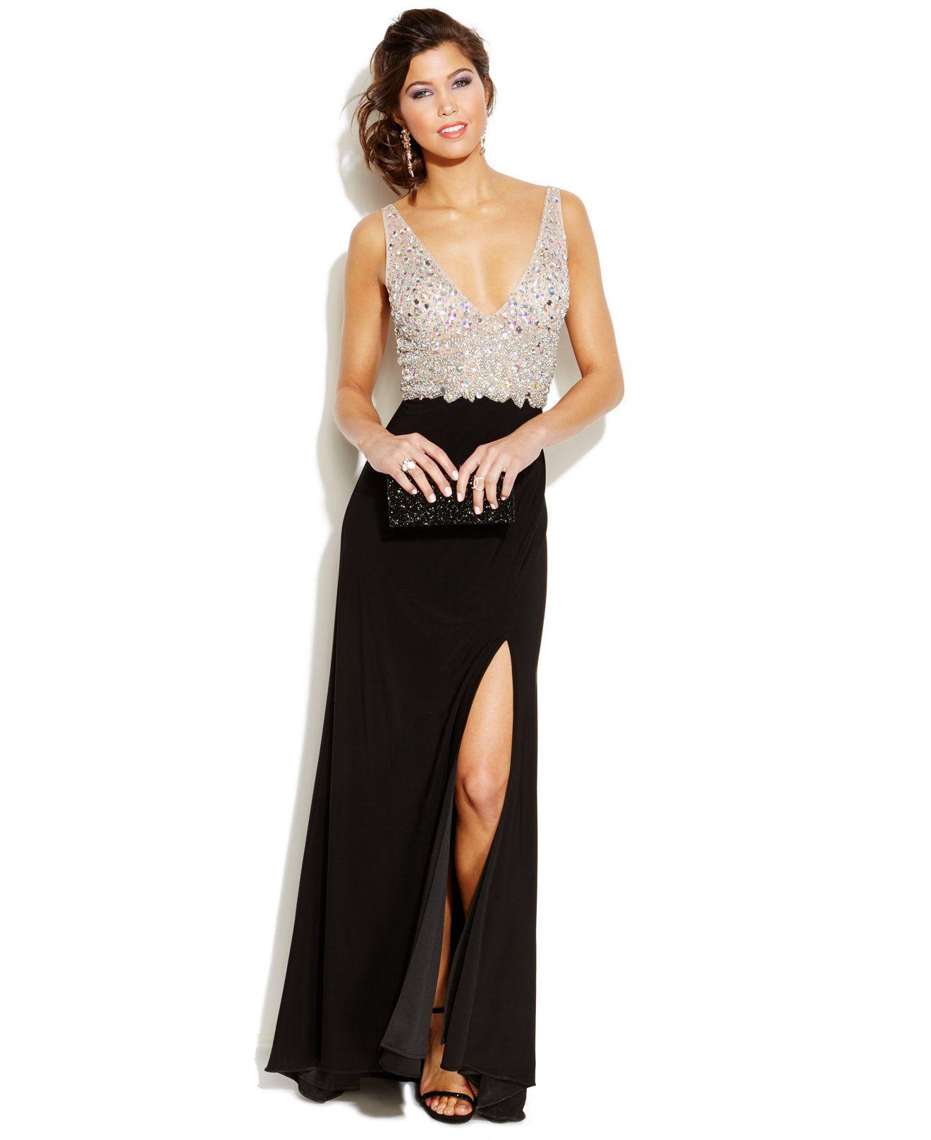 802d27ef1 Blondie Nites Juniors' Embellished Plunging-Neckline Gown - Juniors Dresses  - Macy's