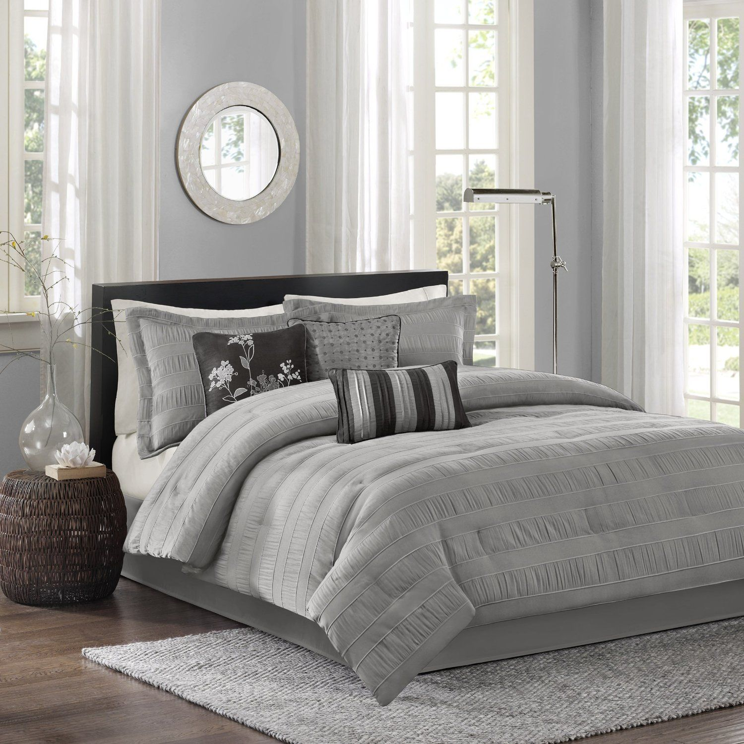 7 piece comforter set queen grey