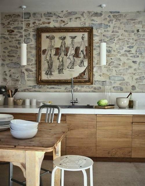 43 idee per la cucina con pareti in pietra | costruire ...