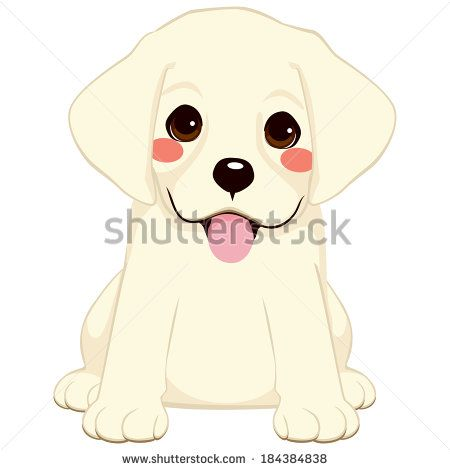 Cute Labrador Golden Retriever Puppy Illustration Kreslenie