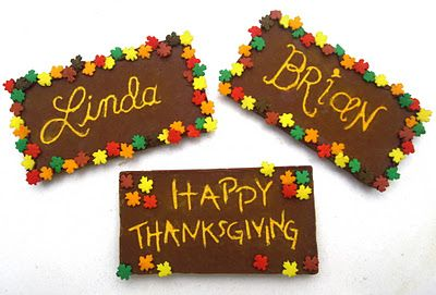 Dollhouse Bake Shoppe: Thanksgiving Chocolate Bar Name Plates