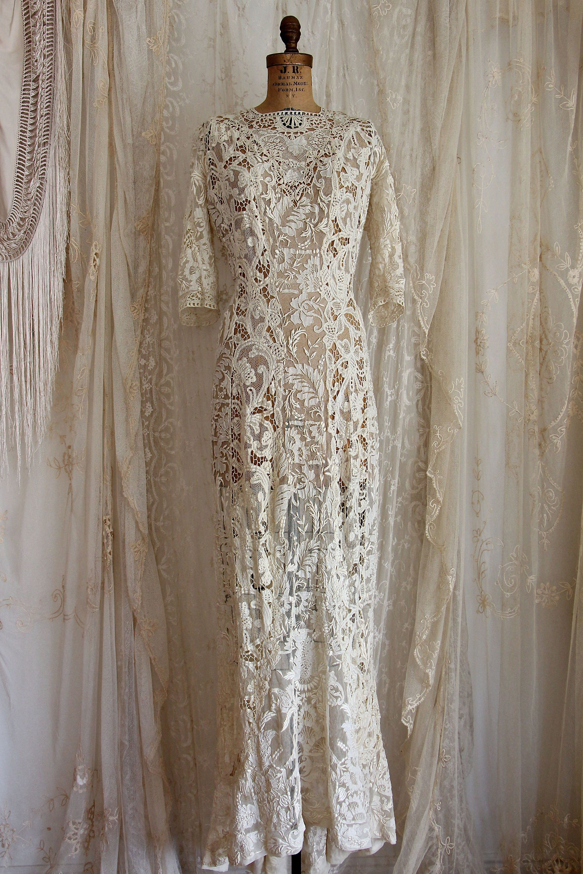 Breathtaking elaborate antique lace wedding gown museum