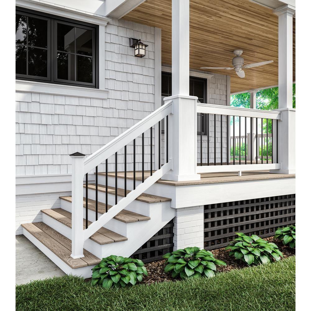 4 Ft X 8 Ft Black Privacy Square Vinyl Lattice Framed 222602 The Home Depot In 2020 Porch Design Front Porch Design Front Porch Steps