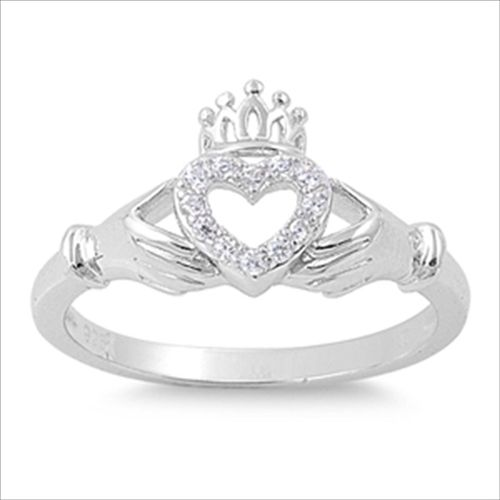 Gorgeous Claddagh Ring .925 Silver Designer Open Heart