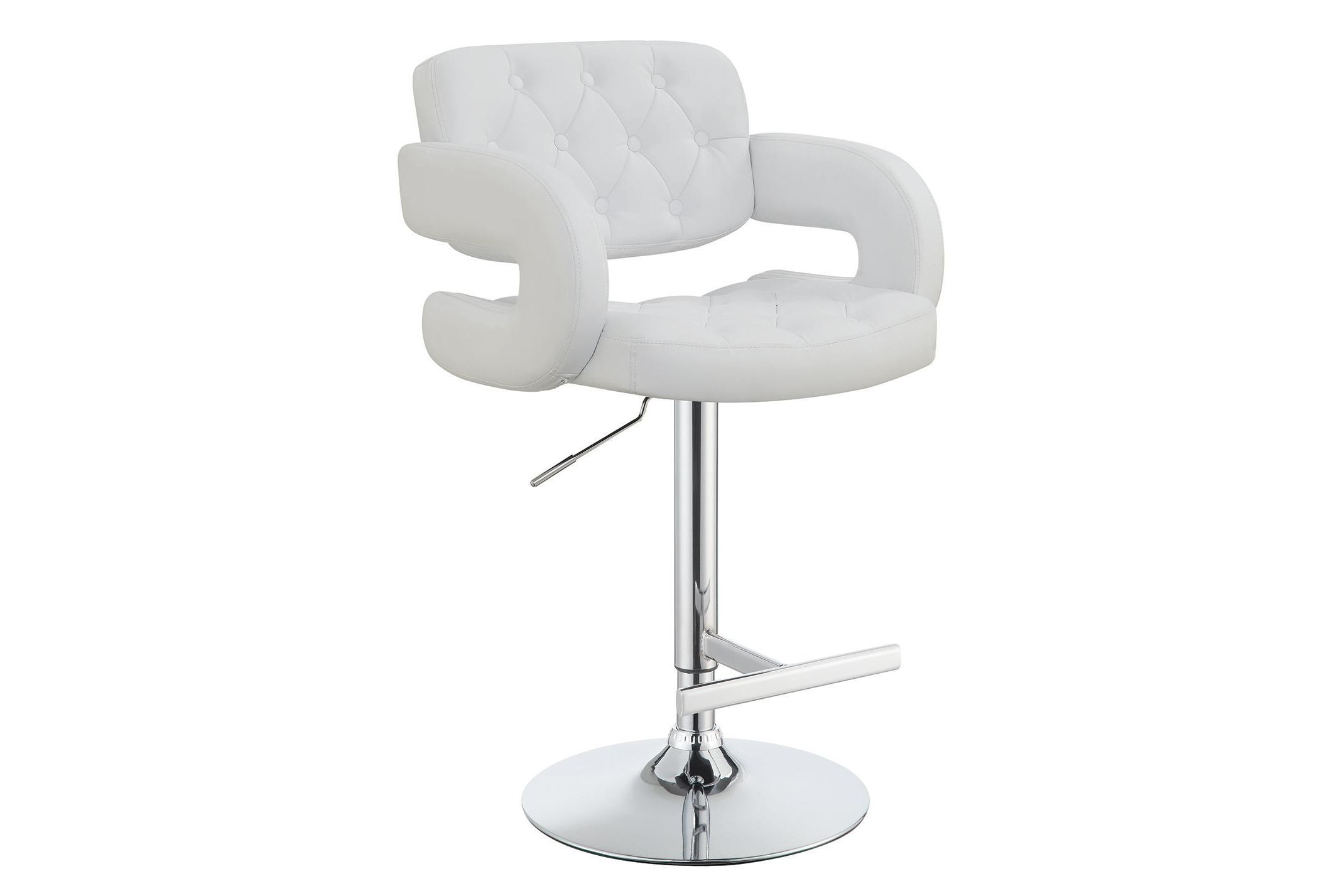 29 Adjustable Height Bar Stool Chrome And White by Coaster