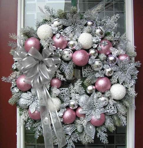 Xl Cottage Shabby Chic Pink Silver Christmas Wreath Q S Creations Designs Christmas Wreaths Christmas Decorations Wreaths Pink Christmas