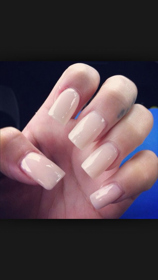 Pink And White Acrylic Nails Squoval