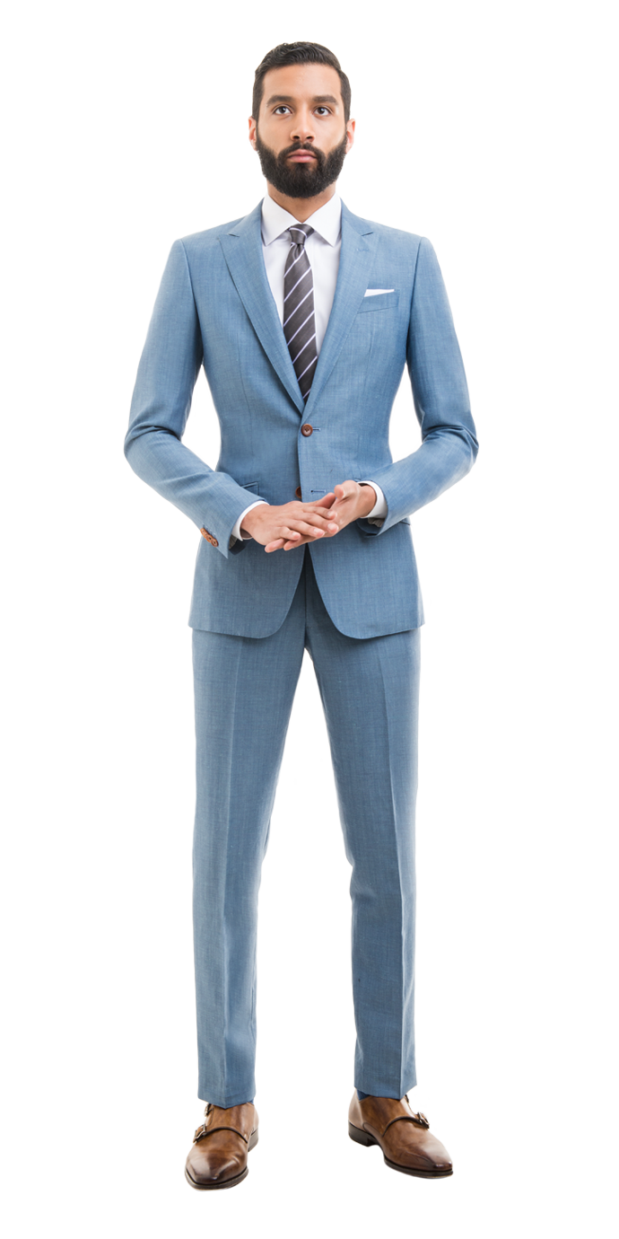 Light Blue Linen Blend Custom Suit | Mens suits style, Suit styles ...
