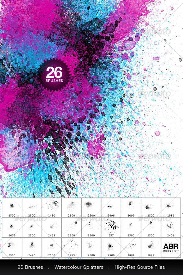 26 Watercolor Splatter Brushes Watercolor Splatter Splatter