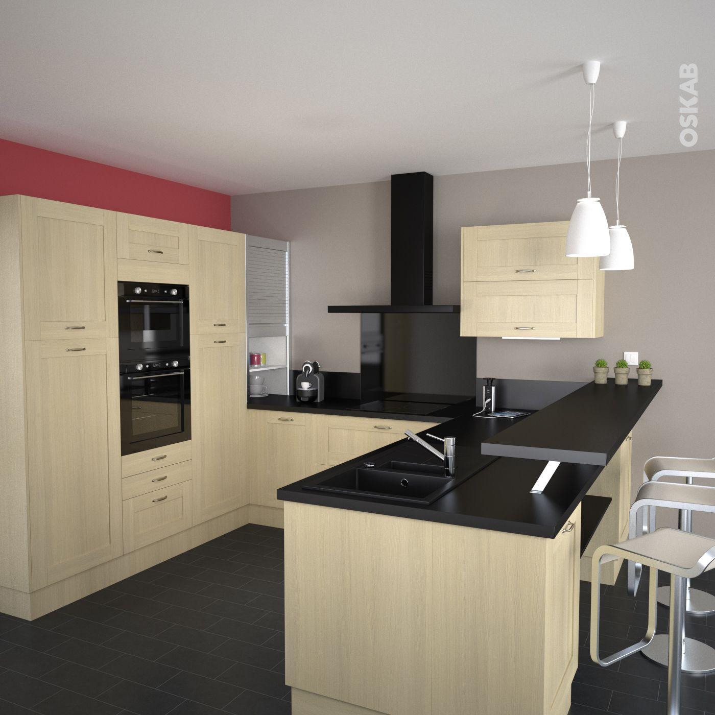 cuisine en bois verni ouverte sur la pi ce vivre implantation en u avec snack plan de. Black Bedroom Furniture Sets. Home Design Ideas