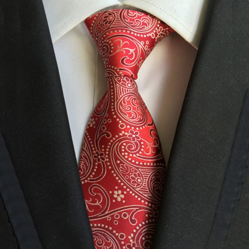 New Men/'s Polyester Woven Neck Tie necktie /& hankie set Red paisley wedding