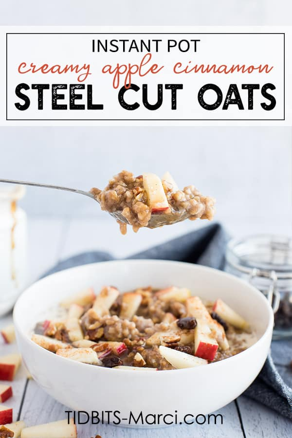 Instant Pot Apple Cinnamon Steel Cut Oats are hearty, healthy, and full of those warm comforting cinnamon spice smells. Easy to make in your pressure coooker. #instantpot #steelcutoats #applecinnamon #healthybreakfast