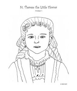 st therese as a little girl catholic coloring page