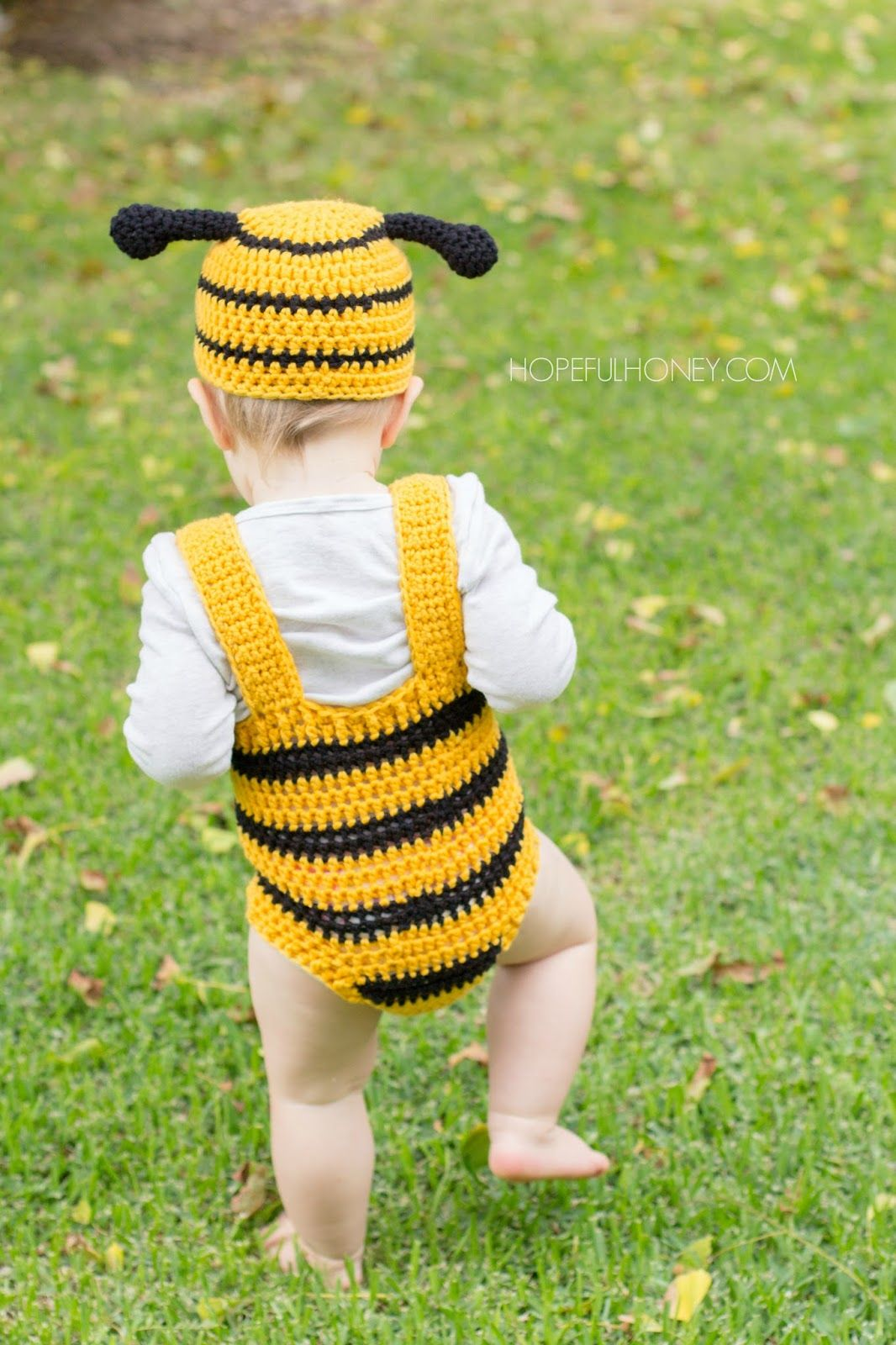 Bumble Bee Baby Hat Playsuit Set