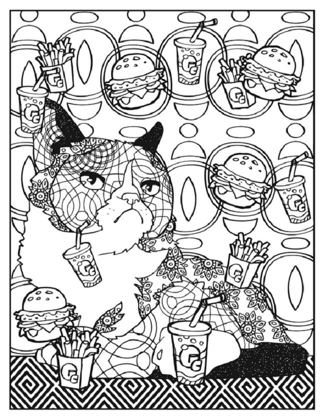creative haven grumpy cat hates coloring at fast food restaurant - Grumpy Cat Coloring Pages