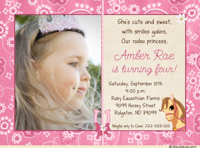 Pink Pony Birthday Invitation - Photo Rodeo Princess Party - fresh birthday party invitation ideas wording