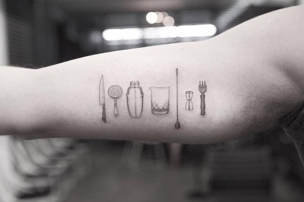 Bar tools tattoo on the right inner arm. | Tattoos | Pinterest