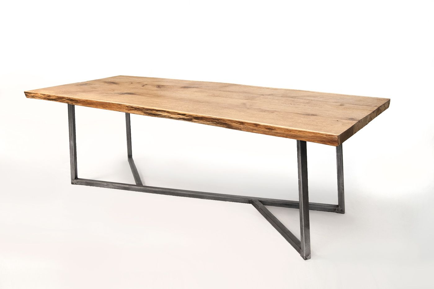 oak wood steel base built for eternity nutsandwoods oak steel table pinterest stolar. Black Bedroom Furniture Sets. Home Design Ideas