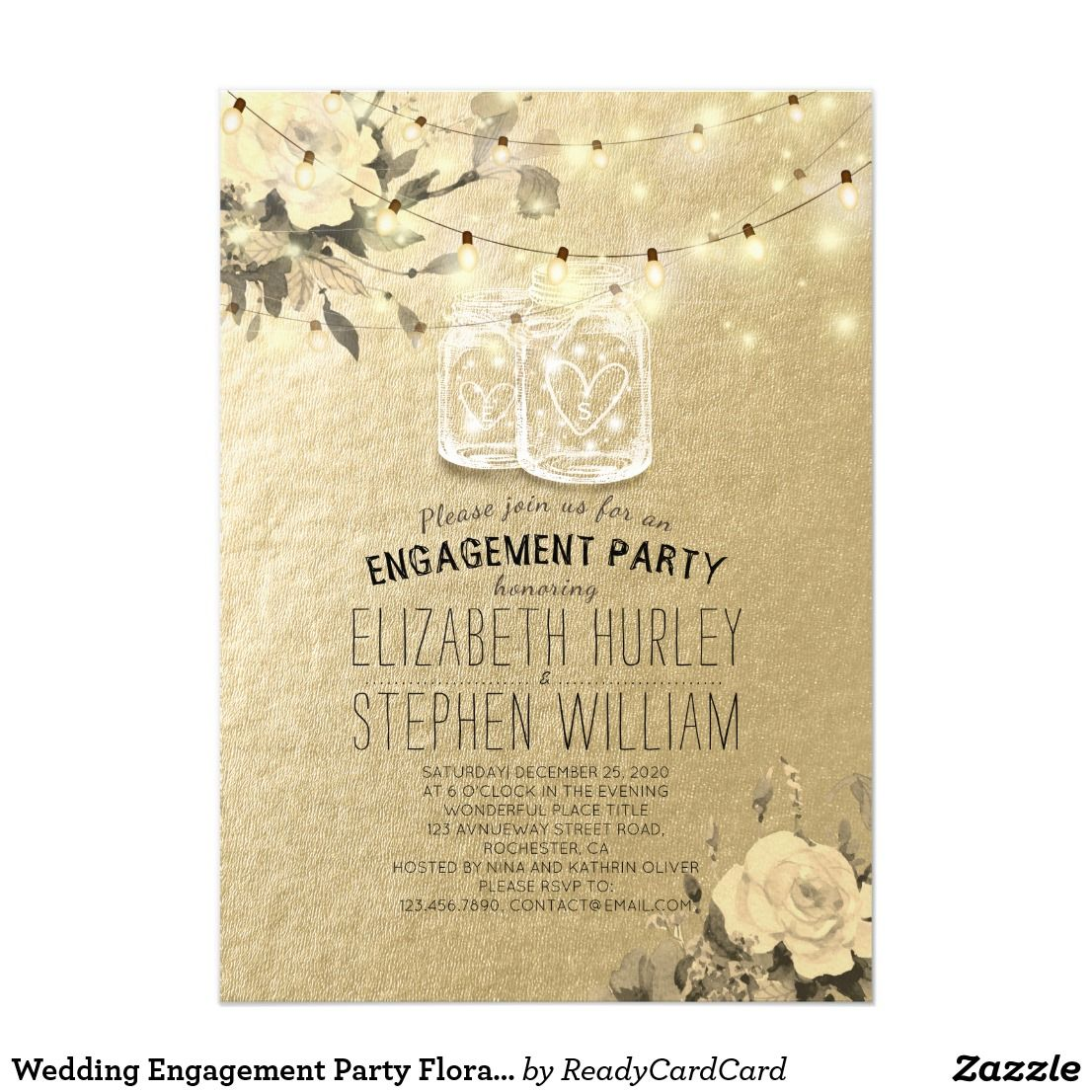 Wedding Engagement Party Floral Mason Jar Lights Invitation ...