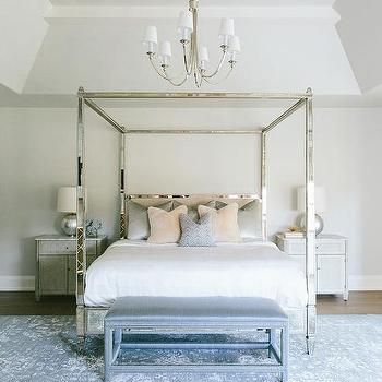 Antiqued Mirrored Canopy Bed With Gray Cabinet Nightstands Chic