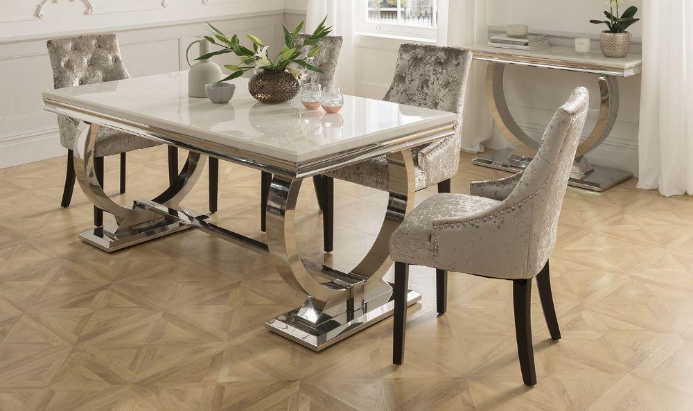 Arianna 180cms Cream Marble Dining Table Dining Table Luxury