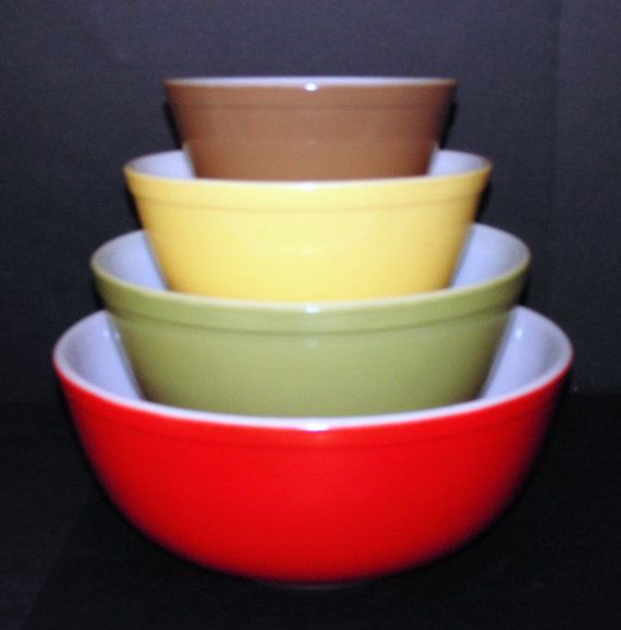 Vintage Pyrex Mixing Bowl Set of 4 Primary Colors With Large Red ...