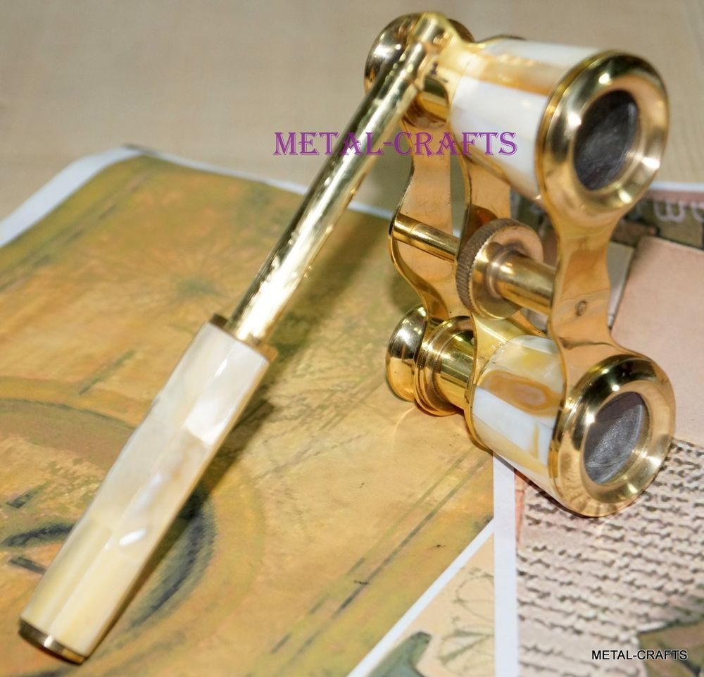 ANTIQUE VINTAGE BRASS MOTHER OF PEARL BINOCULAR CLASSIC OPERA THEATER GLASSES