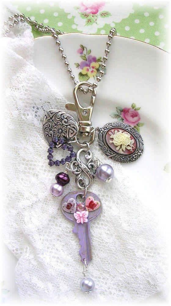 Vintage Key Zipper Purse Pull Bag Charm Fob Cameo Rhinestones