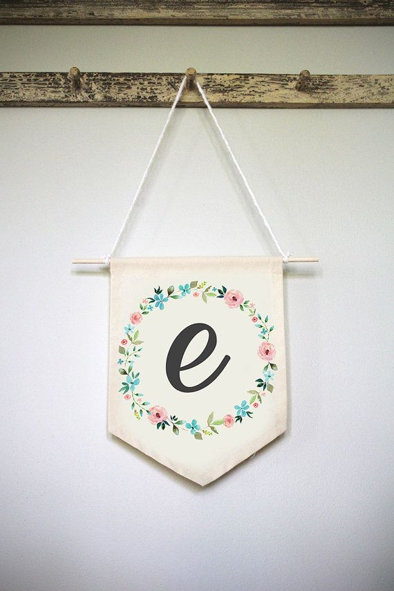 Baby Initial Wall Hanging Custom Nursery Wall Hanging Baby Room Wall Hanging Initial Wall Hanging Floral Fabric Wall Hanging Custom Nursery Fabric Wall Art