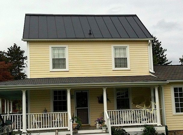 Yellow House Black Metal Roof Panels Metal Roof Houses Yellow House Exterior Red Brick House