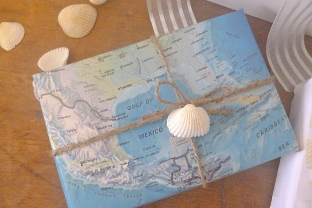 map gift wrap  use when giving someone a souvenir from a vacation     map gift wrap  use when giving someone a souvenir from a vacation trip   plus the shells can be authentic