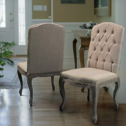 Linen Upholstery Dining Chair Set Of 2 Tufted Back Design Nailhead Trim Accent Solid Wood Frame P Dining Chairs Upholstered Dining Chairs Dining Chair Set