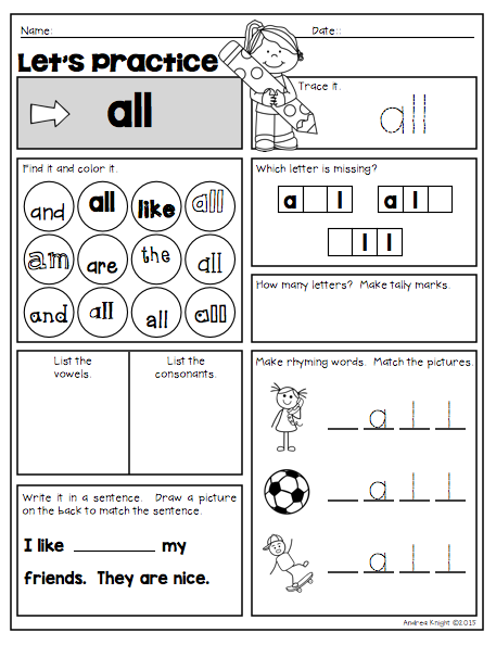 Spectacular Sight Words Mega Pack | Word Work | Preschool sight ...
