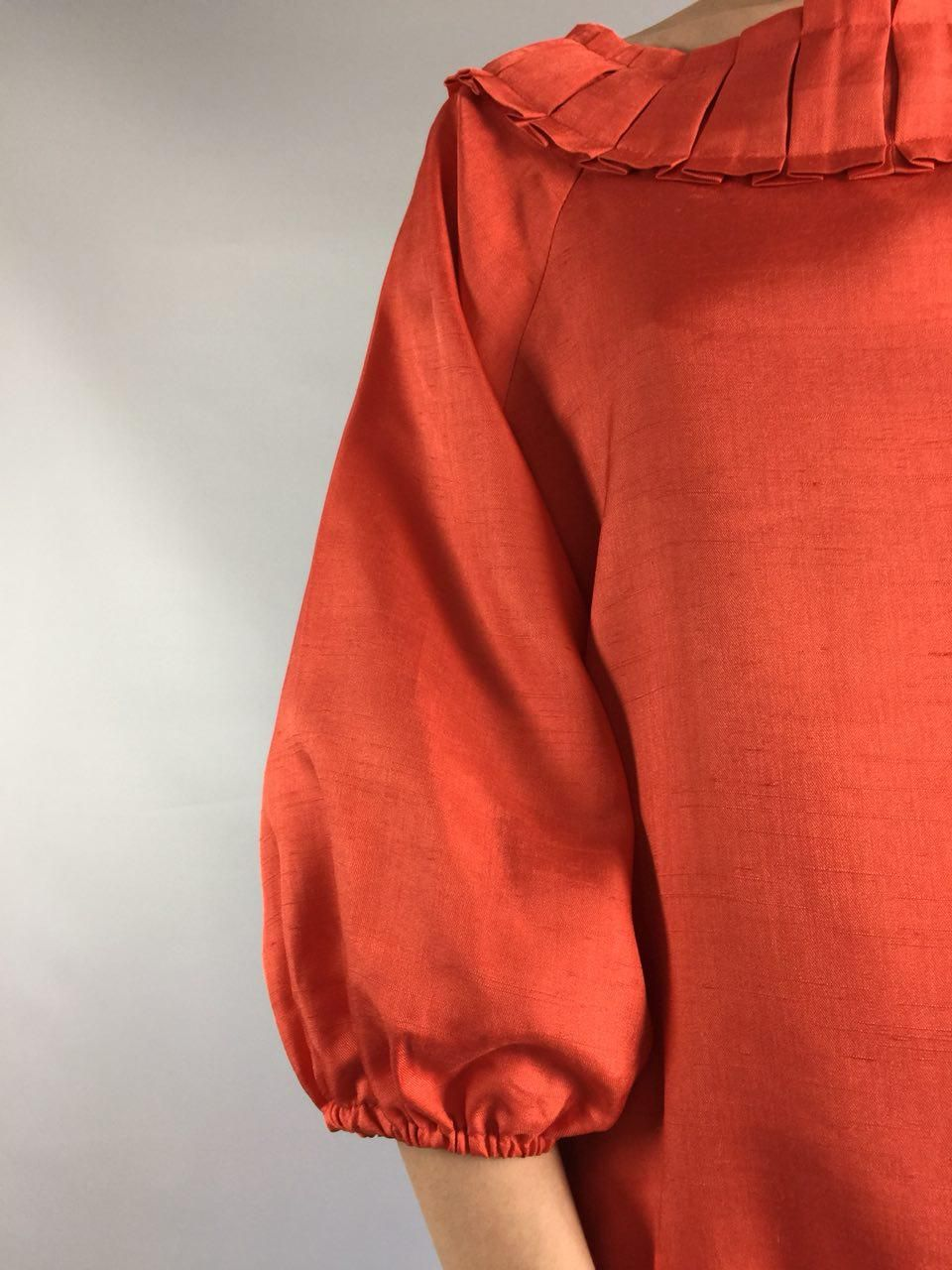 17827dc9d05 Orange 1990 s Vintage Silk Blouse Minimalist 3 4 Sleeves Women s Summer  Shirt Small Sz 6 Us Bohemian Peasant Hipster Top Victorian Style VTG