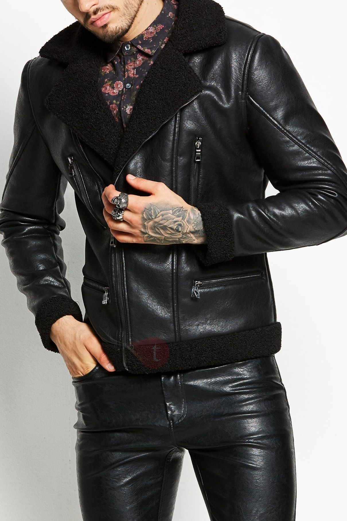 Men's fashion Mens Leather Jacket Brown Outfit