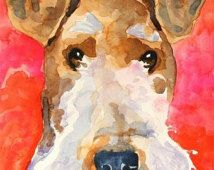 Wire Fox Terrier Art Print of Original Watercolor Painting 11x14