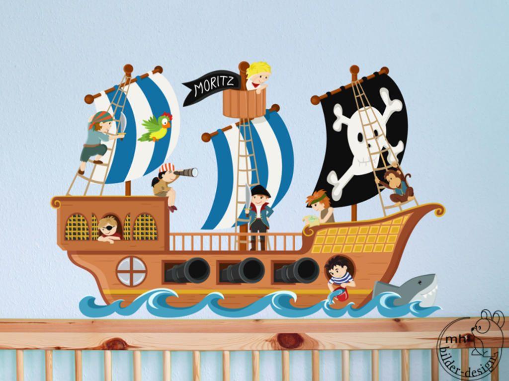 Wandgestaltung Kinderzimmer Pirat