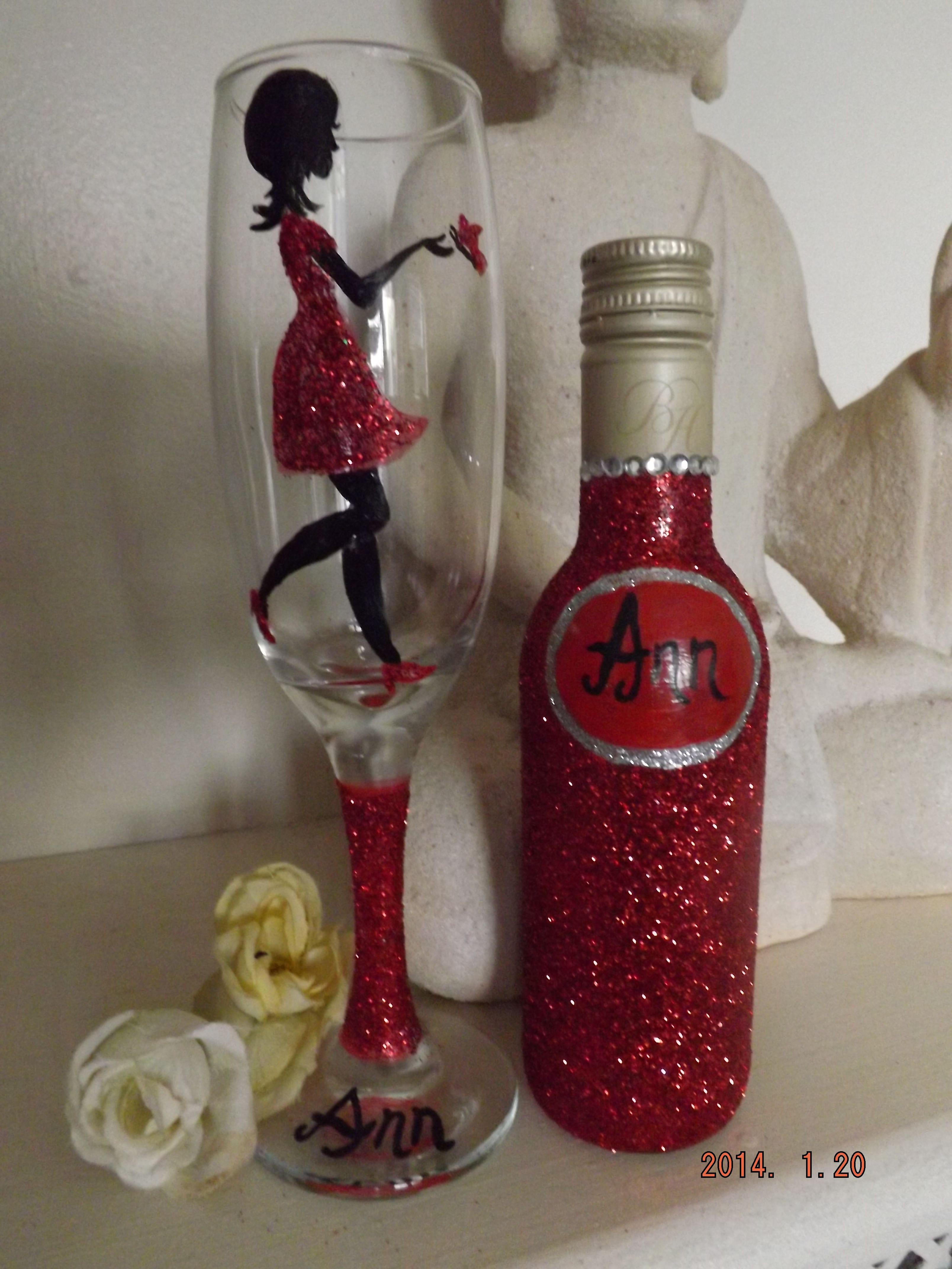 Dazzle Glass Uk Birthday Wine Glass And Small Bottle Of Wine Personalized Glassware Birthday Wine Glass Bottles Decoration