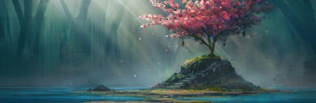 Cherry Blossom Fantasy Art Landscapes Cherry Blossom Painting Landscape Illustration