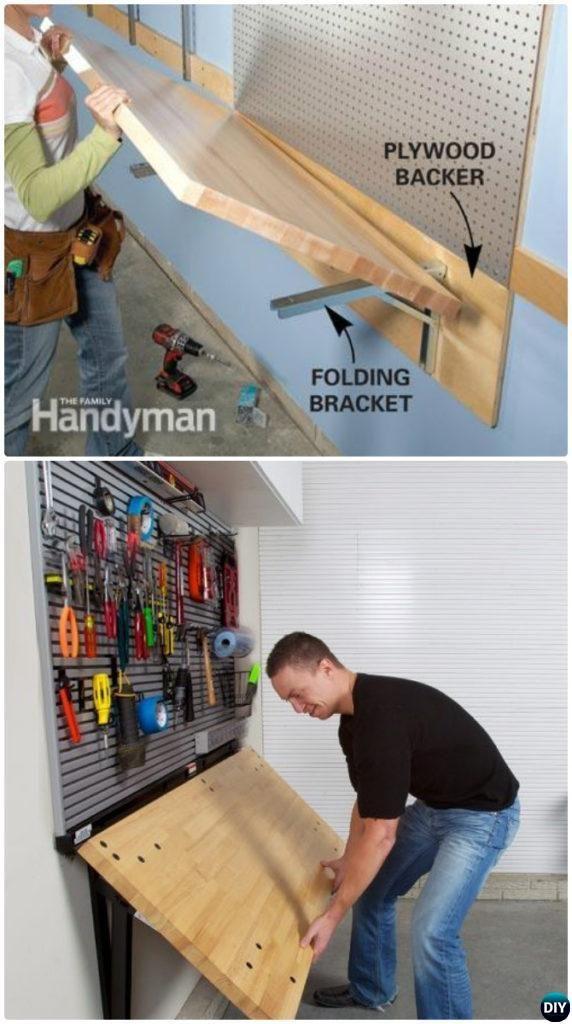 DIY Wall Mount Folding Work Bench-Garage Organization and Storage DIY Ideas Projects DIYHowto