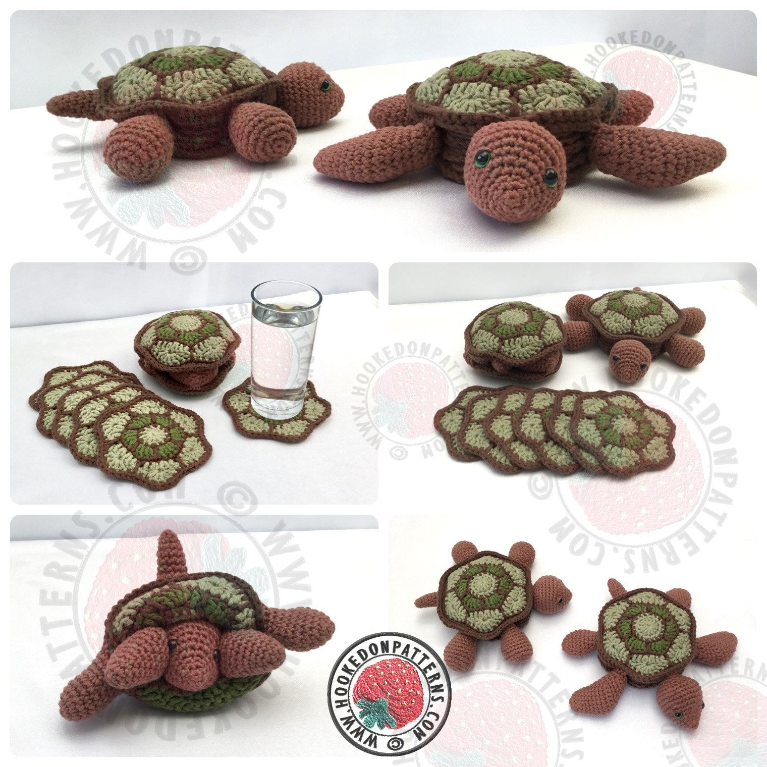 Crochet Turtle Pattern - Coasters