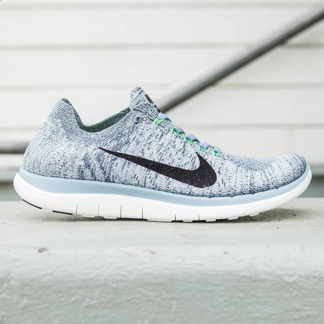best sneakers 8d529 21064 Nike Women Nike Free 4.0 Flyknit (blue   blue grey   black   sail   voltage  green)