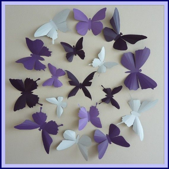3D Wall Butterflies - 15 Lavender, Lilac Purple, Dark Plum, White ...