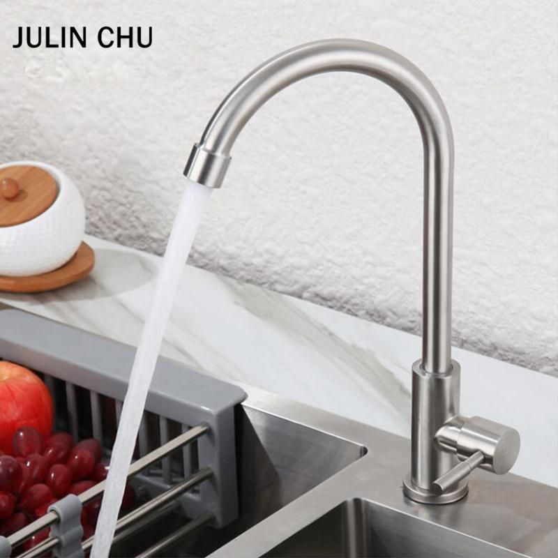 304 Stainless Steel Kitchen Faucet Brushed Single Cold Water